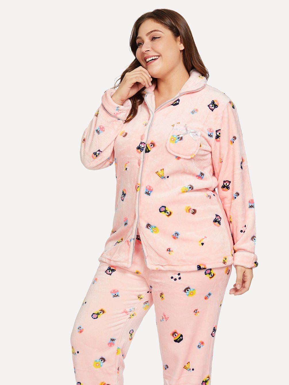 38dac37b9 Plus Cartoon Print Plush Pajama Set #jackets #trend #women #mode #woman  #girl #fashion