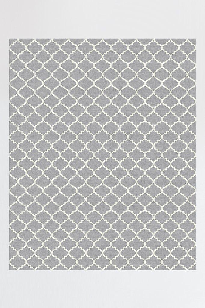 Best Contemporary Trellis Light Grey Rug Machine Washable 400 x 300
