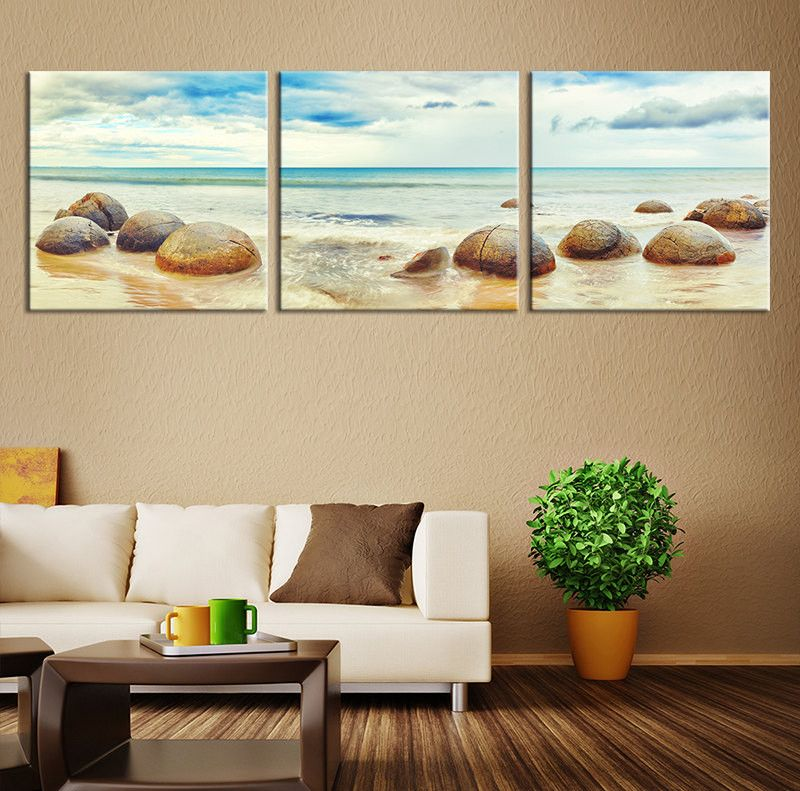 Large Canvas Print - Stones on the Beach Large Size, Extra Large ...