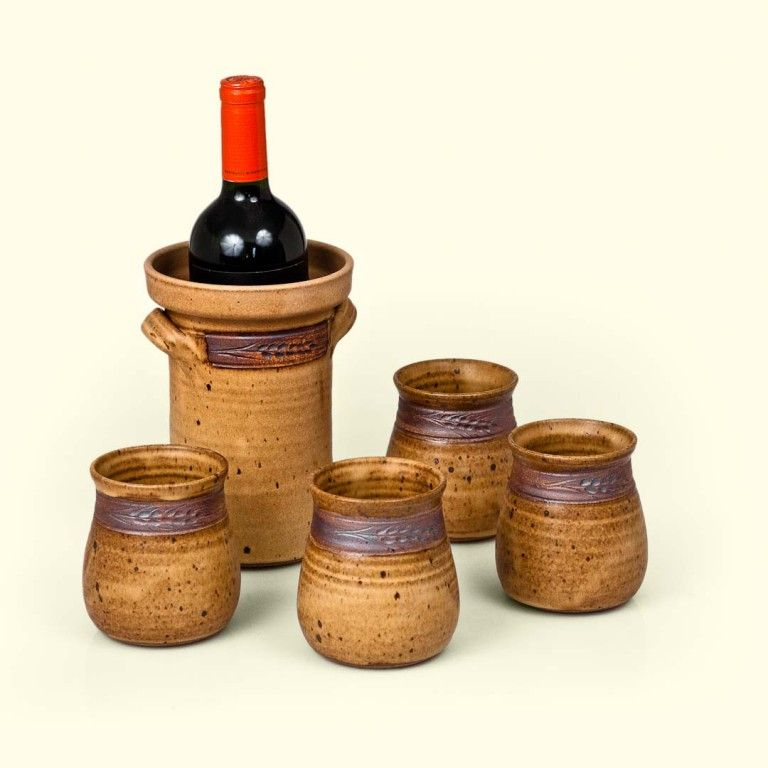 Wine Chiller Set Mocha Wheat Functional Pottery Dreams