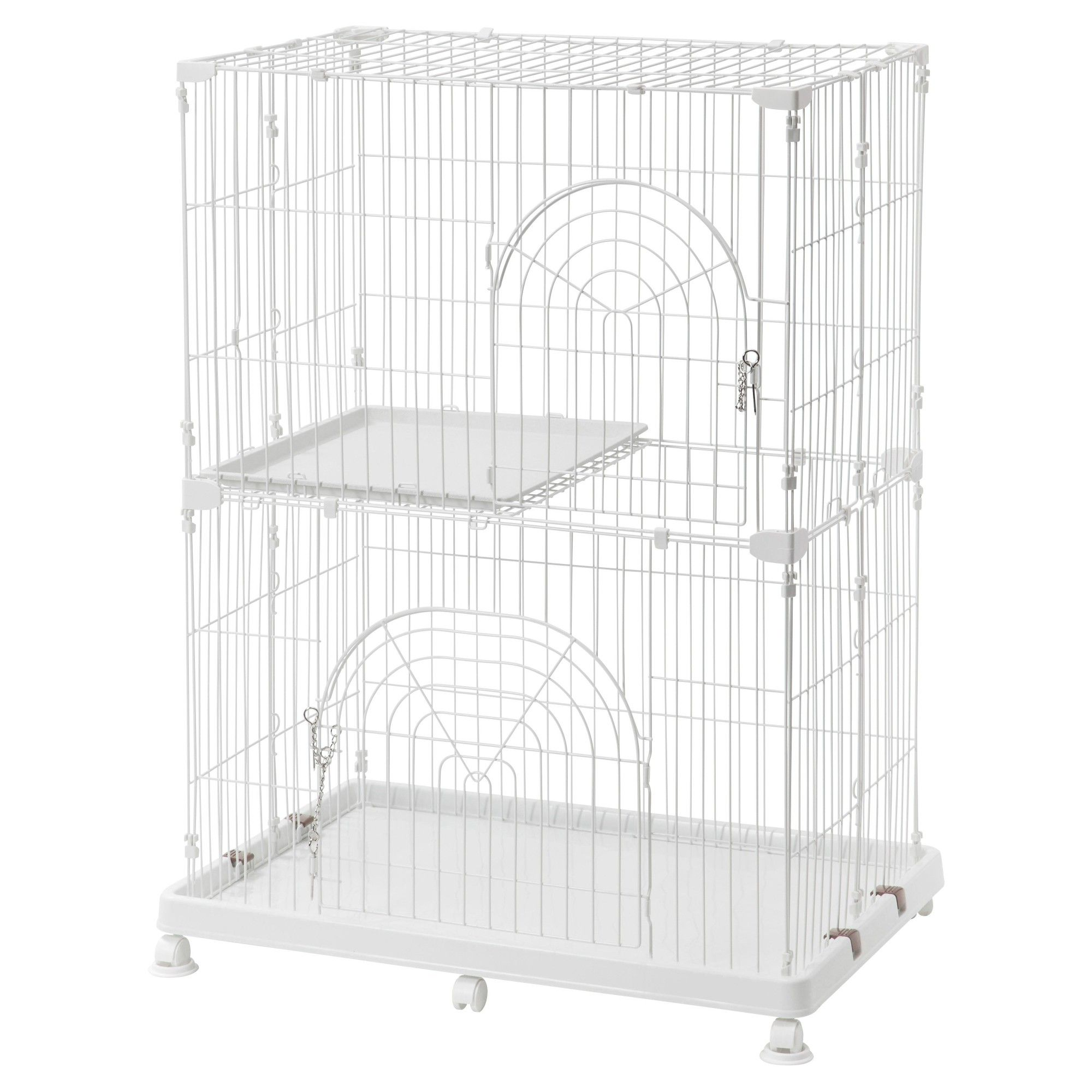 Iris 2-Tier Wire Cat Cage - S - White | Pinterest | Cat cages and ...