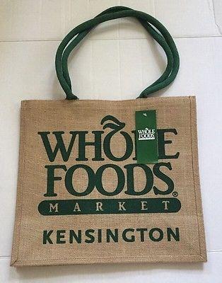 Whole Foods Kensington Tote Bag London Jute England Uk Burlap Recycle New