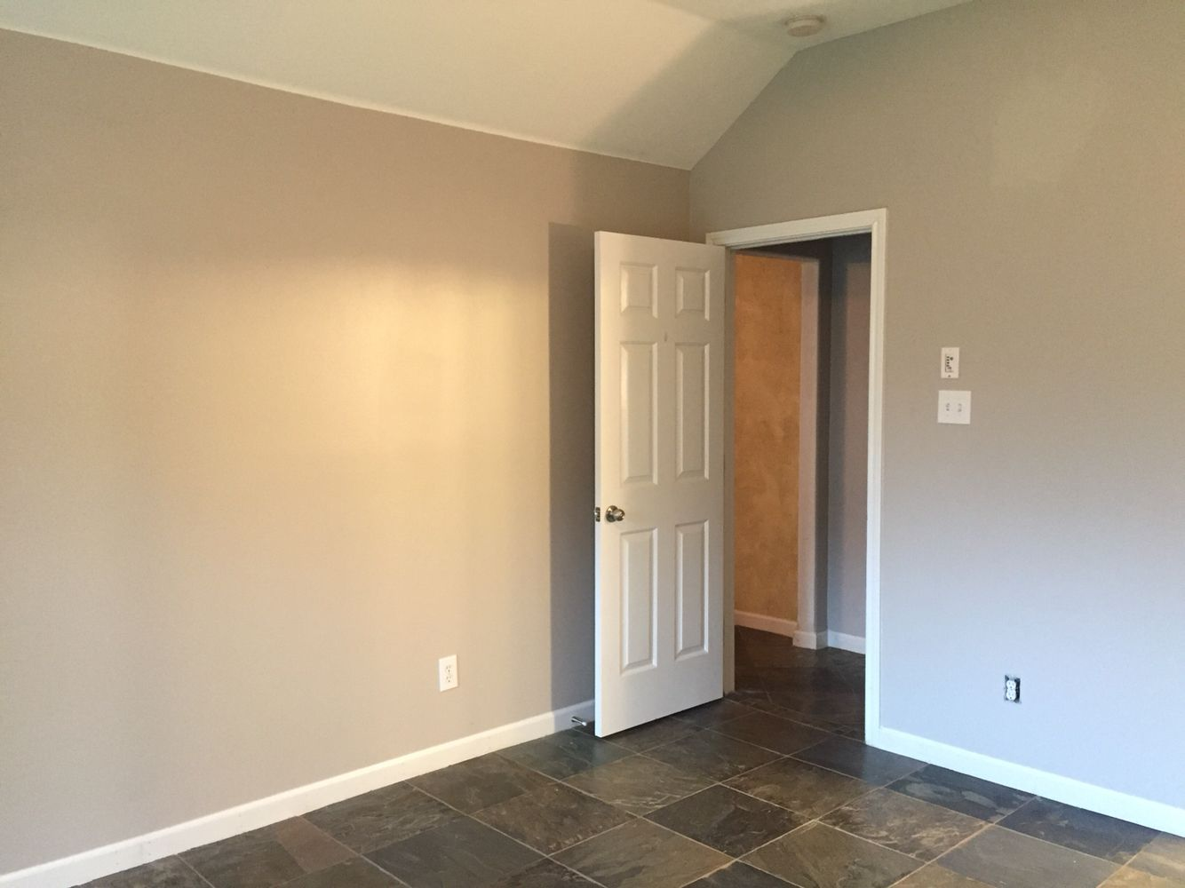 Another look of the elegant light gray paint color! Behr wheat bread ...