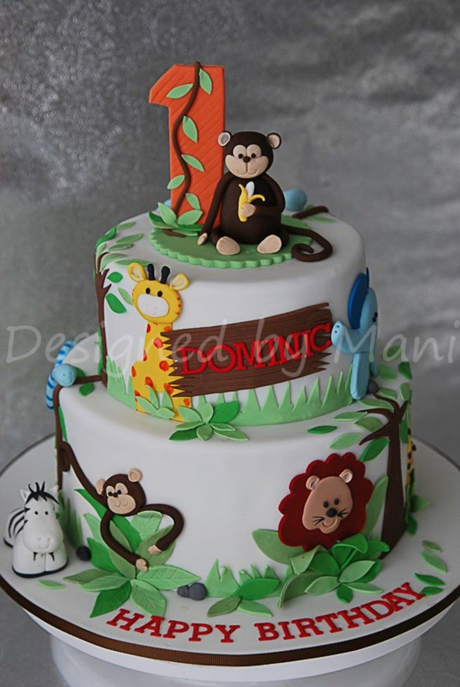 Jungle Themed 1st Birthday Cake On Cake Central Cake Decorating