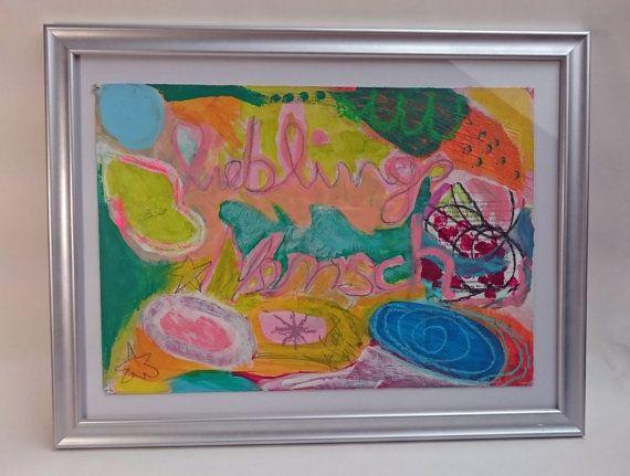 Acrylbild auf Karton gerahmt abstrakt Oelkreide von SuseundMuse