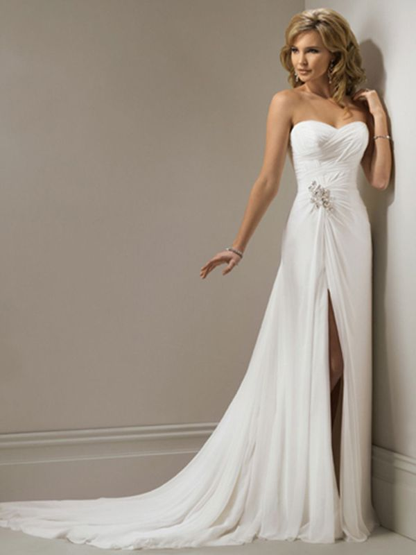 Find More Wedding Dresses Information About In Stock Strapless Chiffon Front Slit Dress Crystal Ruched