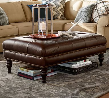 Martin Tufted Leather Small Rectangular Ottoman 42