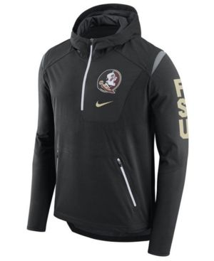 5207265cd Nike Men s Florida State Seminoles Alpha Fly Rush Quarter-Zip Hoodie - Black