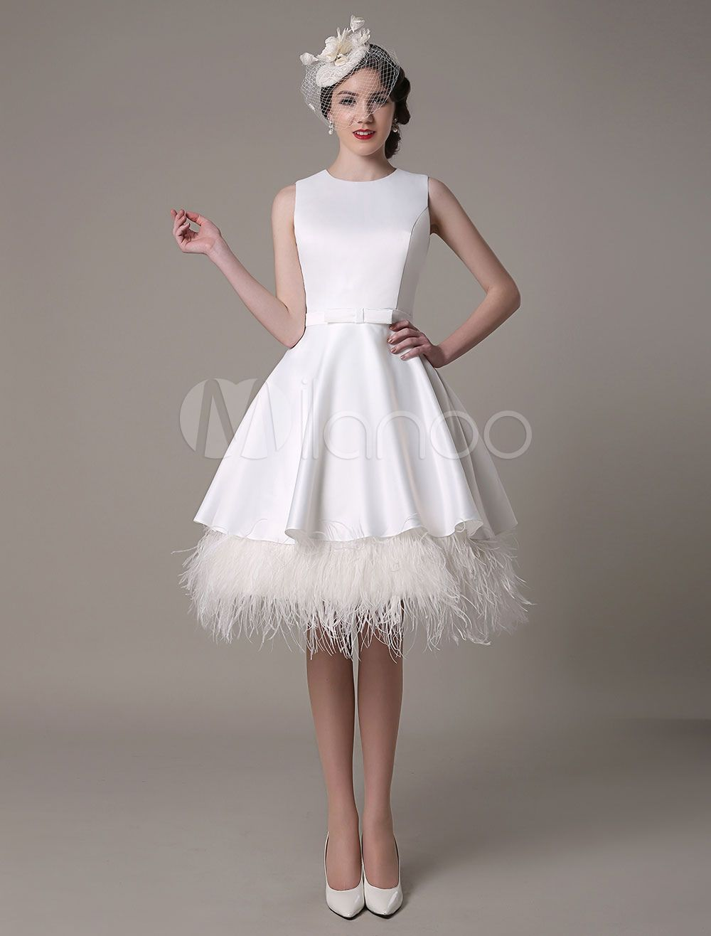 A Line Wedding Dress Knee Length Feather Tiered Satin Bow Bridal