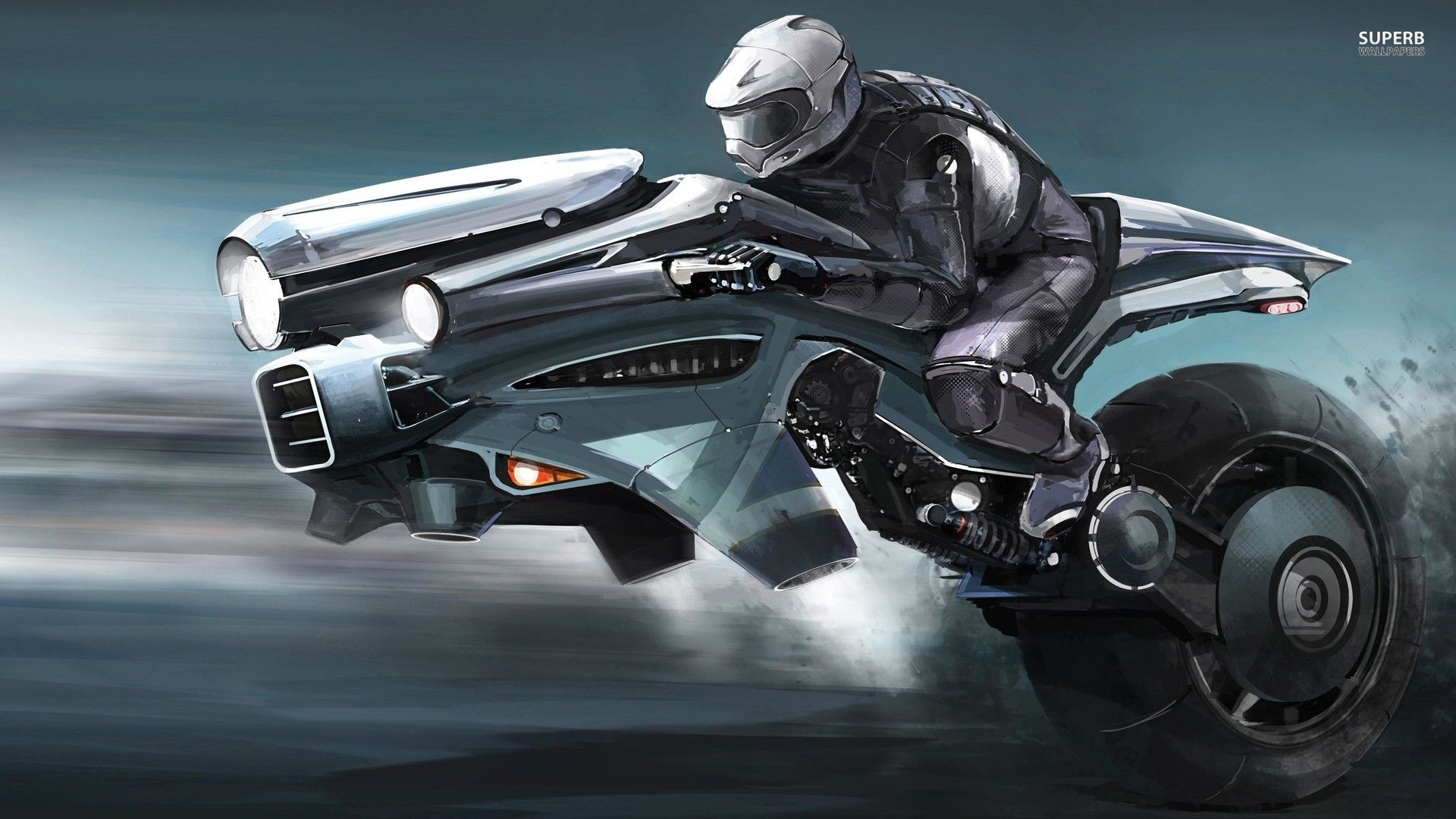 Riding the futuristic bike wallpaper