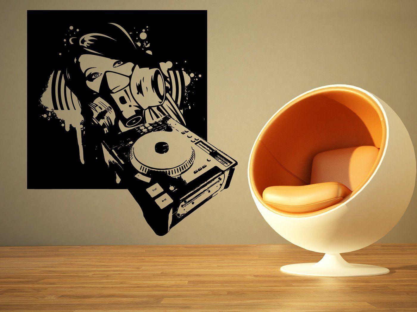 Wall Room Decor Art Vinyl Sticker Mural Decal Dj Girl Mask Music Big ...