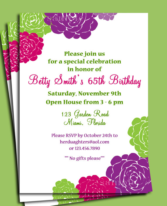 Flowers In Bloom Invitation Printable Or Printed With FREE SHIPPING