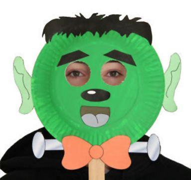 Paper plate Frankenstein craft or mask for kids to make for Halloween.  sc 1 st  Pinterest & Maschera da Frankenstein con piatti carta | Carnevale | Pinterest ...