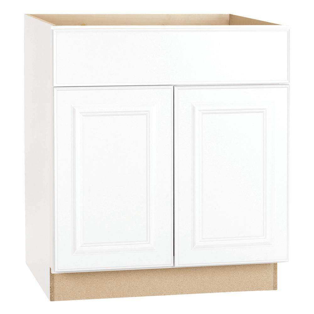 Hampton Bay Hampton Assembled 36 X 34 5 X 21 In Bathroom Vanity Base Cabinet In Satin White Kvsb36 Sw The Home Depot Base Cabinets Kitchen Cabinets Hampton Bay