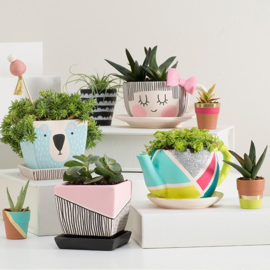 Fun365 Craft Party Wedding Classroom Ideas Inspiration Diy Ceramic Painted Flower Pots Painted Plant Pots