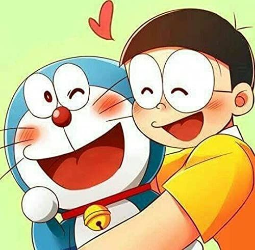 Doremon & Nobita Cartoon Art!!Gift for Kids on Children's Day!!Preprinted Canvas Board! Coloring and Decorating!! Gifts for 4+ Kids!!