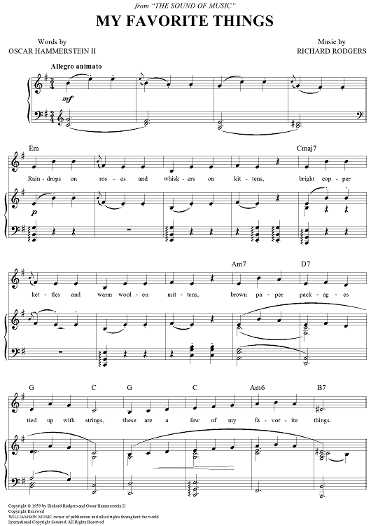 My Favorite Things Sheet Music - Music for Piano and More - SheetMusicNow.com