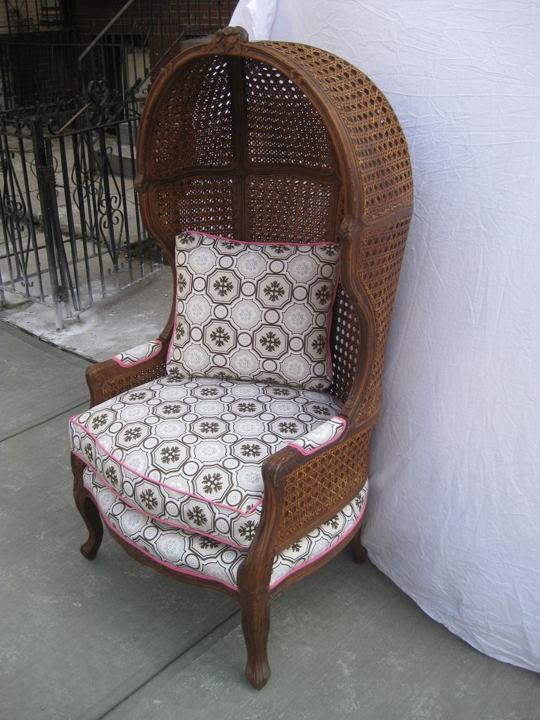 outdoor canopy chair masoli swivel vintage rattan hood or with tony duquette upholstery image 3