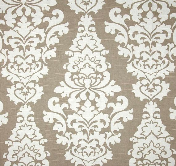 Fabulous Taupe Tan White Designer Fabric Home Decor Fabric By The Interior Design Ideas Inamawefileorg