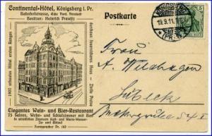 Königsberg, Continental-Hotel, gel. 1911