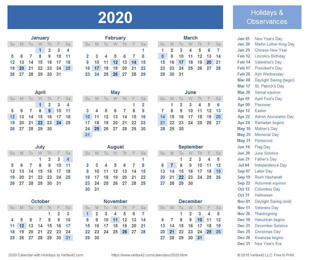 Free Printable 2020 Calendar Pendidikan Canada