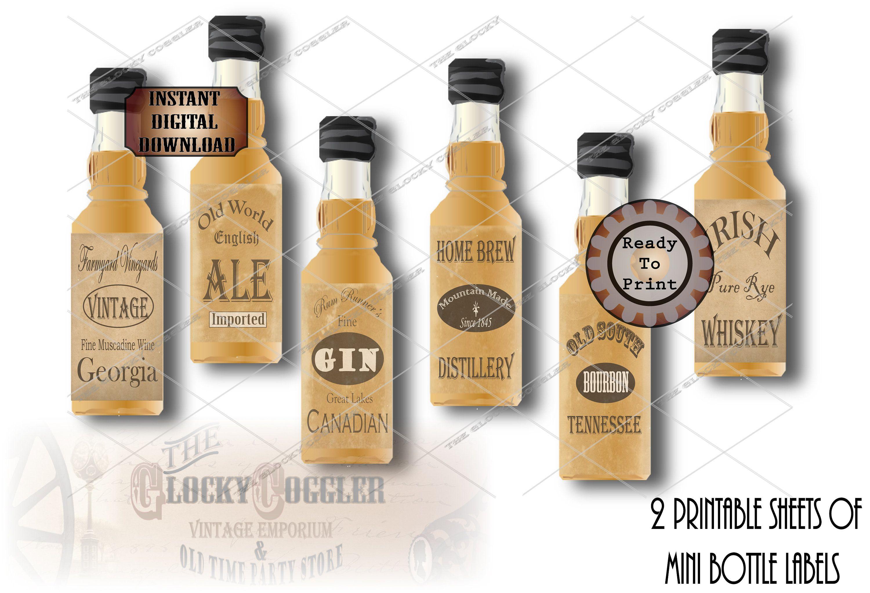 24 Mini Bootlegger Bottle Labels Printable Booze Prohibition Speakeasy Gatsby Party Roaring 20s Wedding Rye Whiskey Bourbon Gin Ale Brew In 2020 Bottle Labels Bottle Labels Printable Mini Bottles Labels