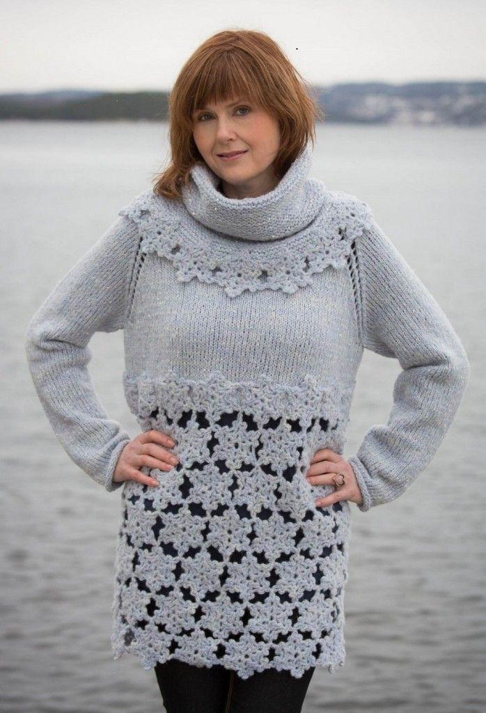 Oversized genser av den lekre sorten! Genseren en lett og rask å strikke med 2 og 3-dobbelt garn. Den heklede nederdelen er heller ikke vanskelig å hekle og den gjør genseren til et blikkfang. Foto: Bjørn Inge Karlsen