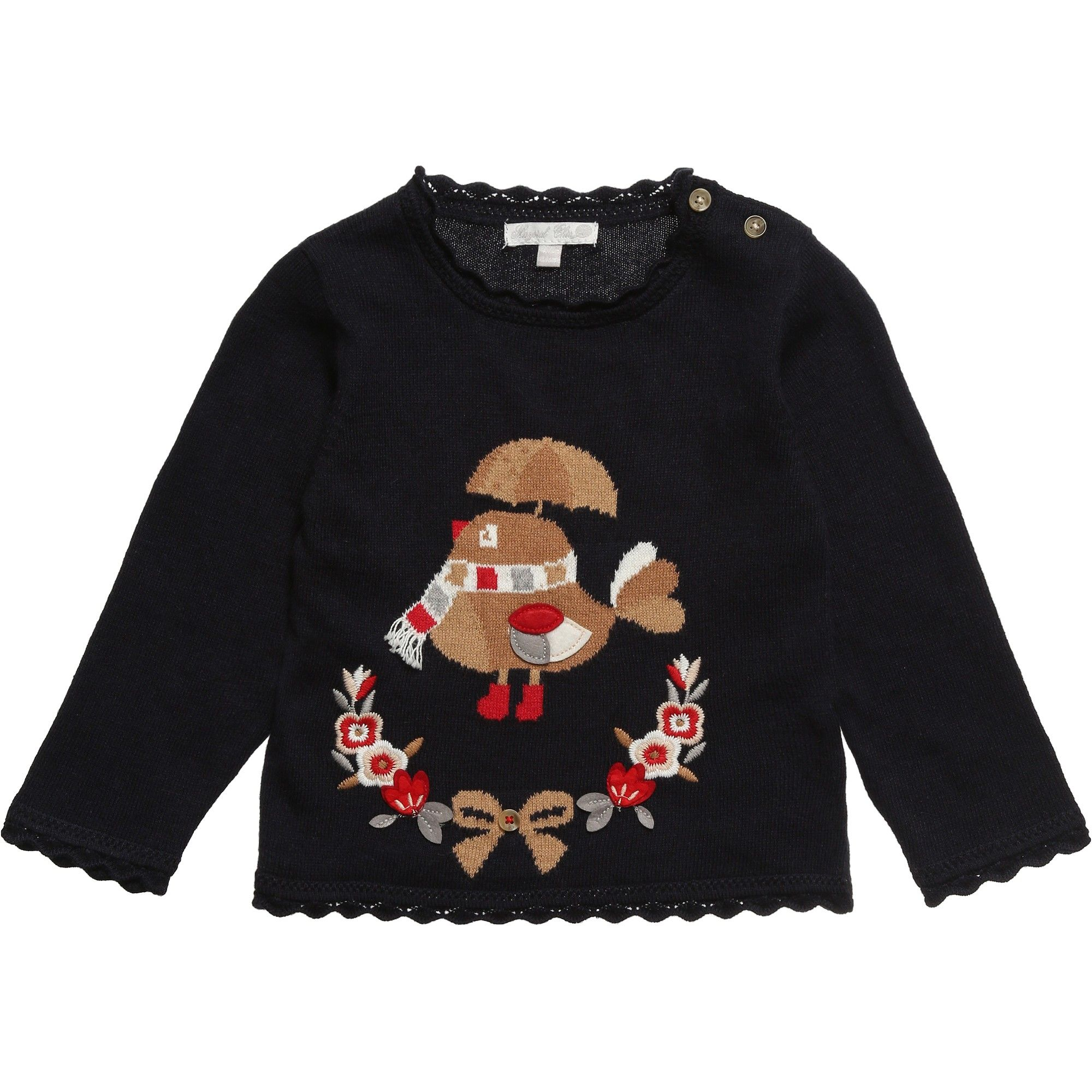 14a3e22af48a Mayoral Baby Girls Navy Blue Knitted Sweater