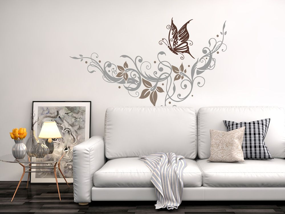wandtattoo farbiges ornament mit schmetterling für wohnzimmer ... - Bilder Fur Wohnzimmer Design