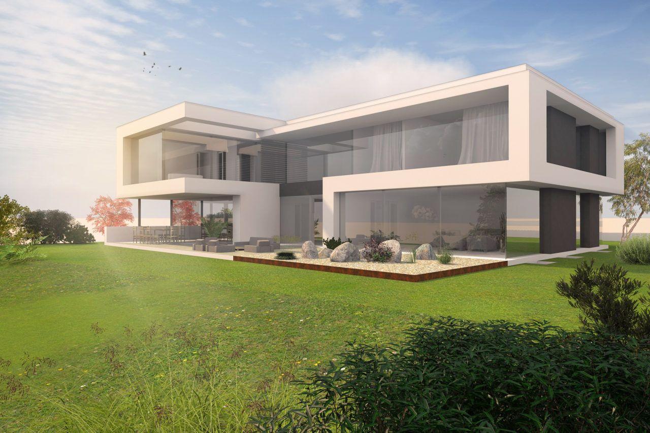 Architekt Villa modern bauen - Siegerentwurf Wettbewerb im Taunus ...
