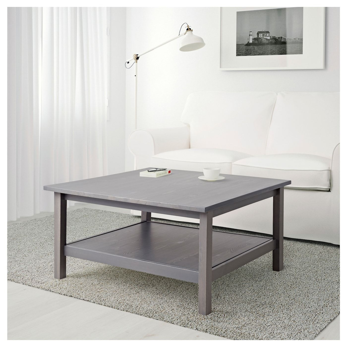HEMNES Coffee table dark gray gray stained 35 3/8x35 3/8