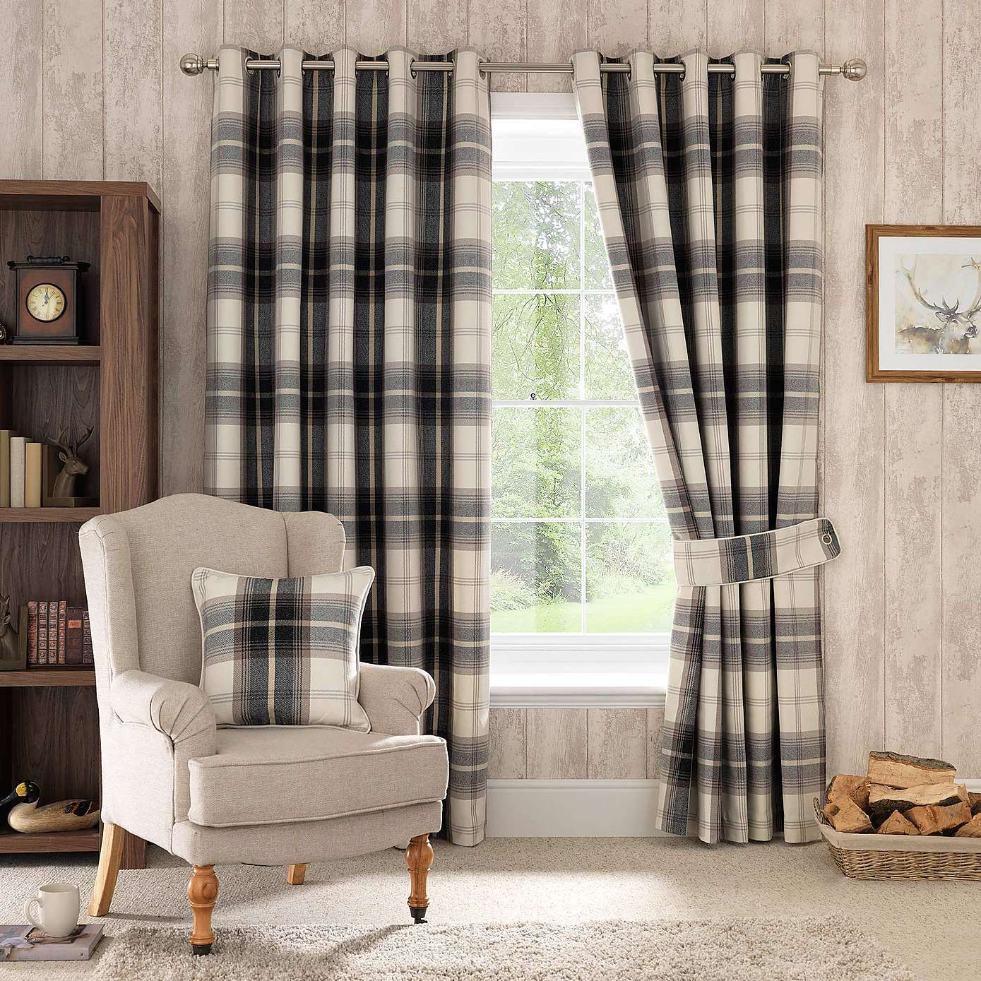 Highland Check Charcoal Eyelet Curtains Curtains Living Room Modern Tartan Curtains Check Curtains