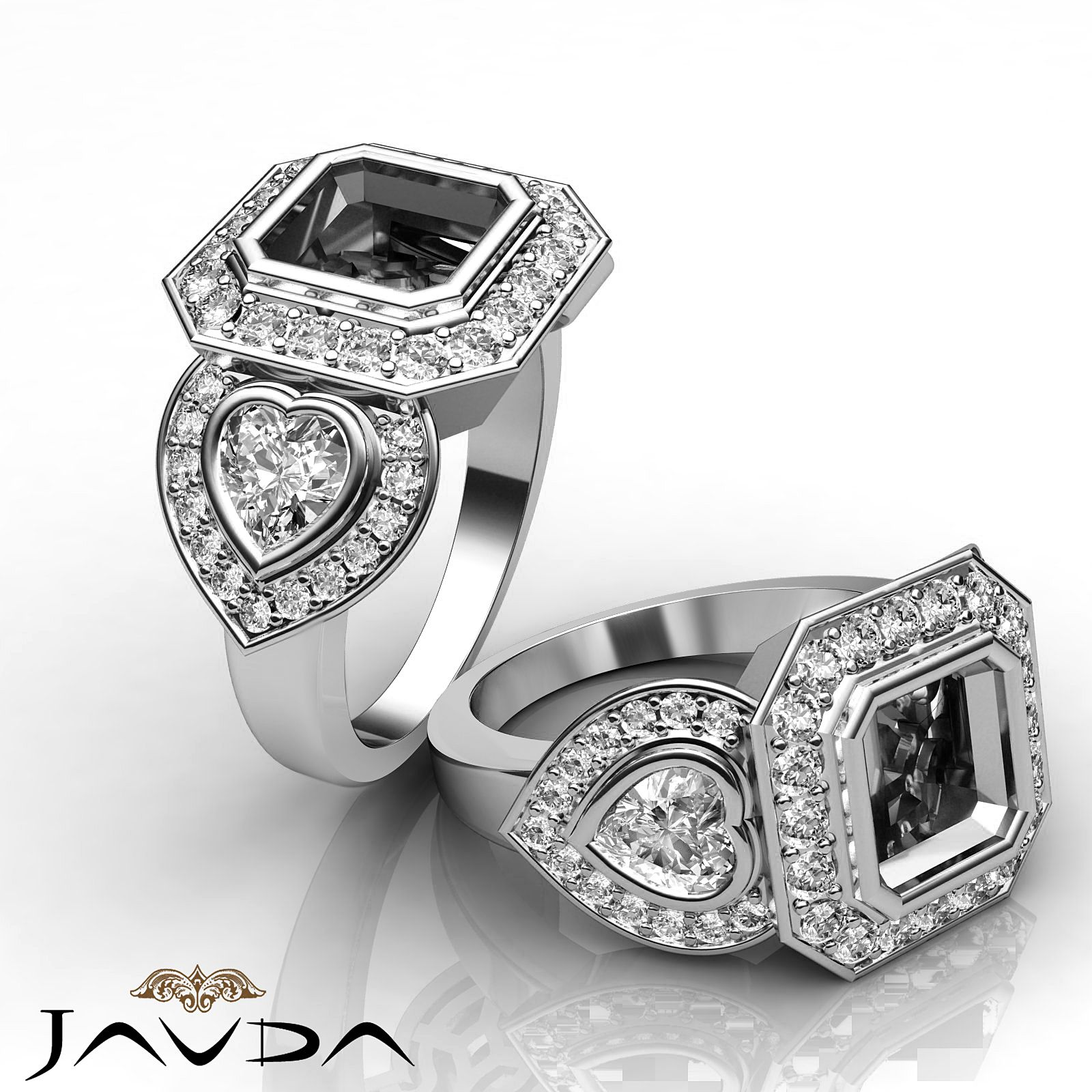 3 Stone Diamond Wedding Heart Asscher Mount Antique Ring