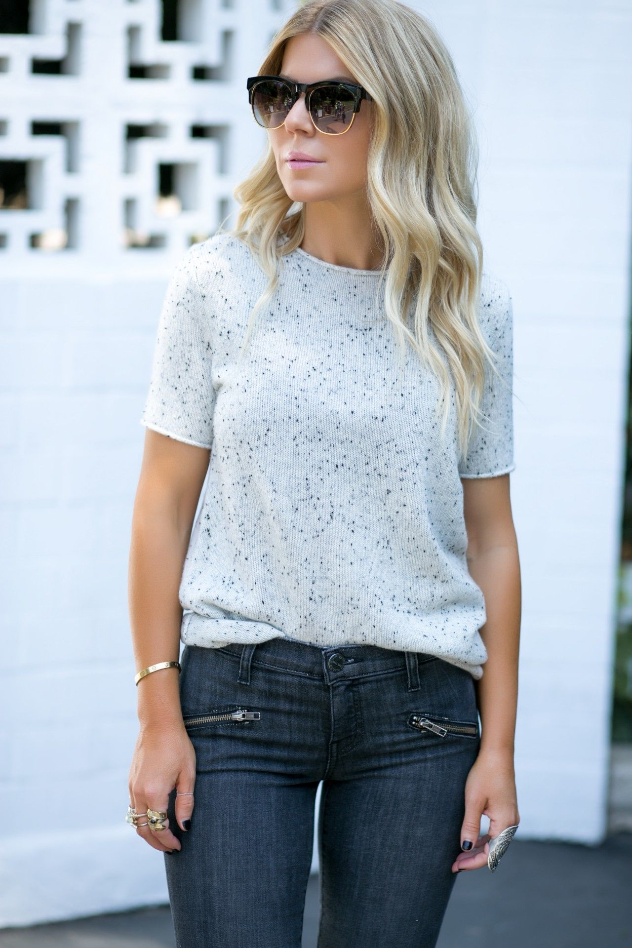 Loving this light multi blend Theory Cashmere Sweater and Current Elliott Jeans from the Nordstrom Anniversary Sale