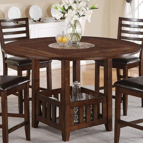 theodora mission drop leaf counter height table with faux marble lazy susan