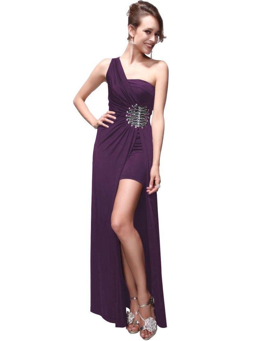 Sexy Elegantes, beinfreies lilafarbenes One Shoulder Abendkleid mit ...