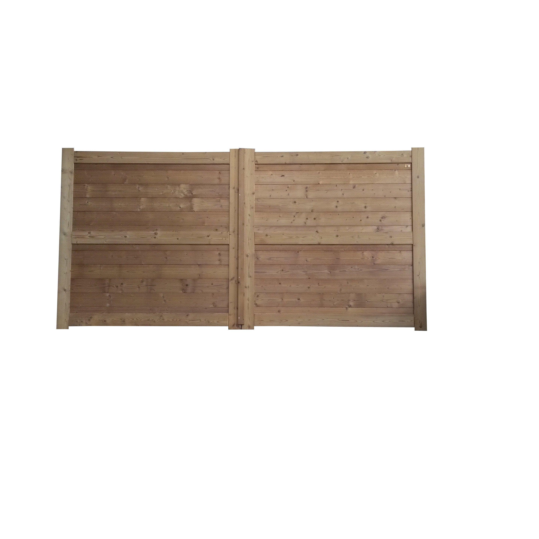 portail battant bois zaragoza naturel l300 x h175 cm