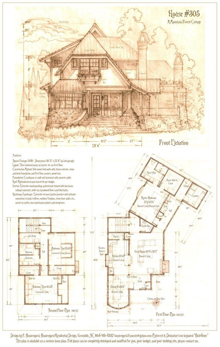 A new plan developed from previous sketches features an Storybook cottages floor plans