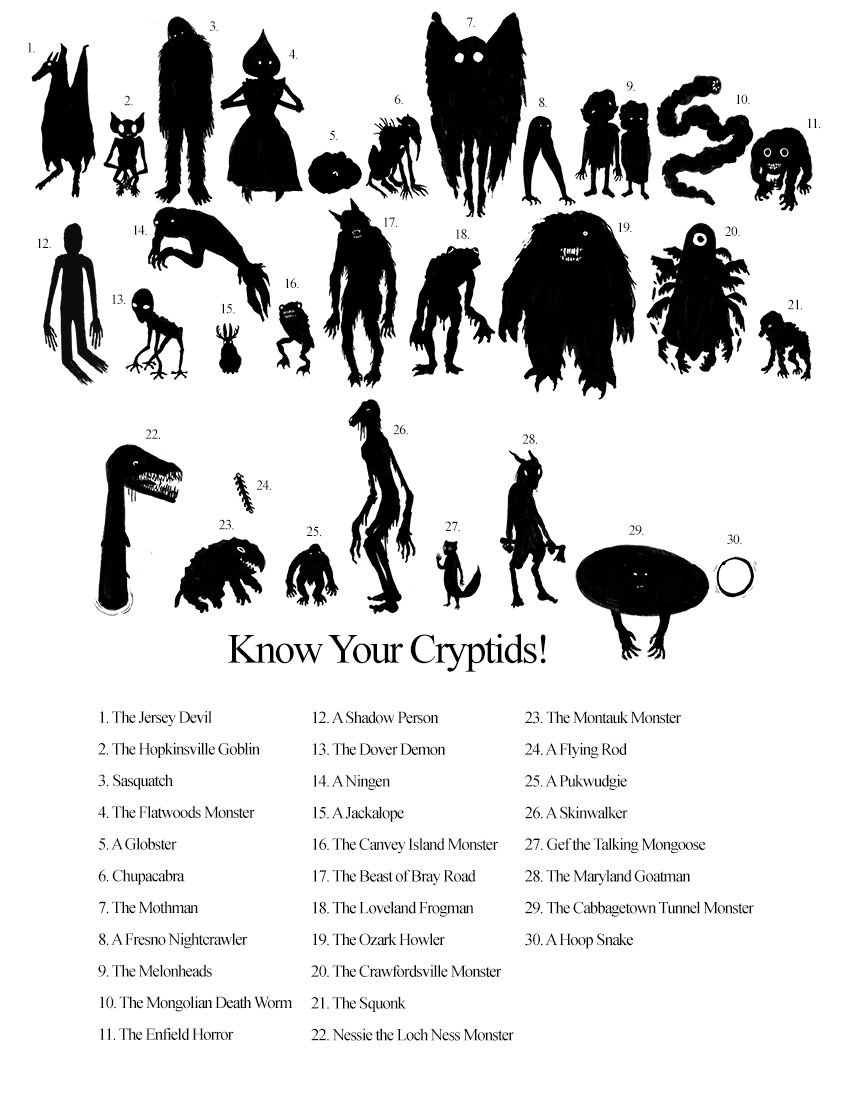 Know Your Cryptids [See Colored Version in my Strange