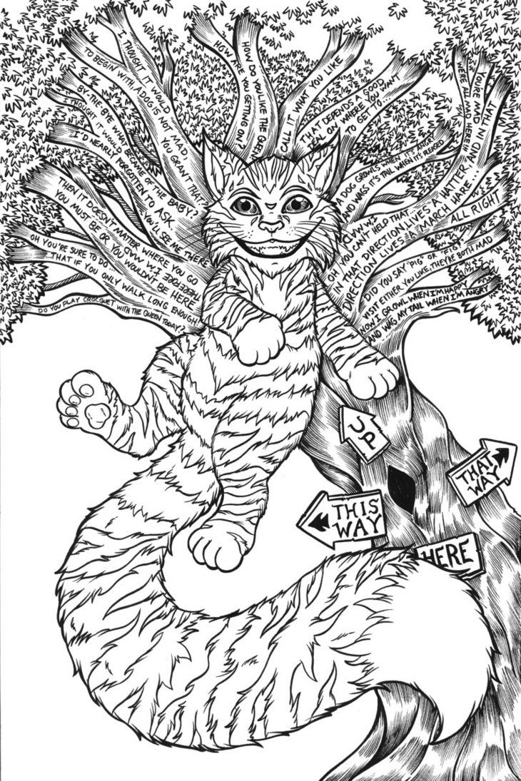 Cheshire cat original linework by therealjoshlyman cheshire cat animal coloring pages cheshire cat alice in wonderland cheshire cat