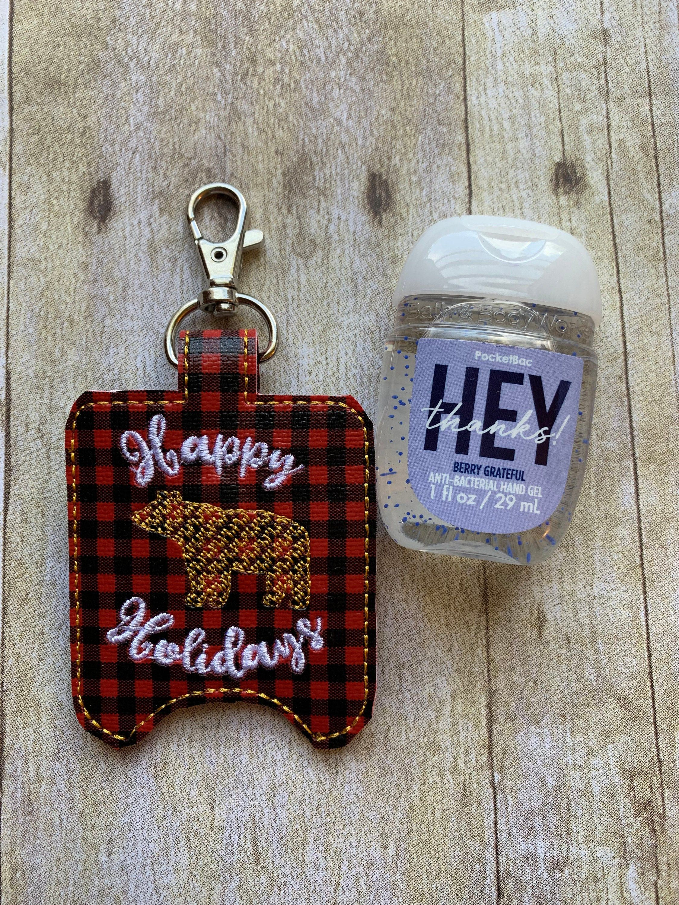 Bear Happy Holidays Hand Sanitizer Holder On Buffalo Plaid Vinyl