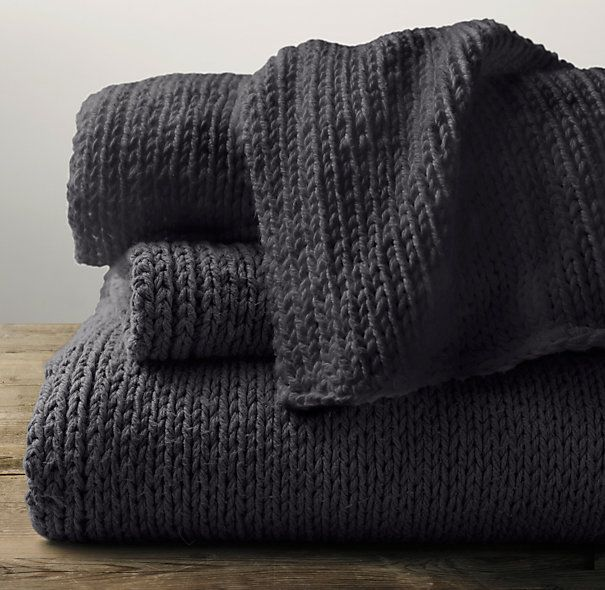 Garment Dyed Hand Knit Throw Restoration Hardware