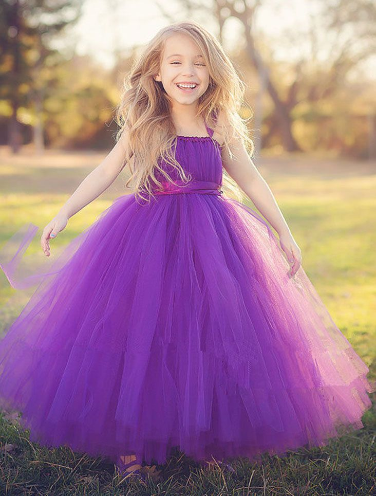 72f2688a0 New 2018 Tutu Purple Baby Bridesmaid Flower Girl Wedding Dress Tulle ...