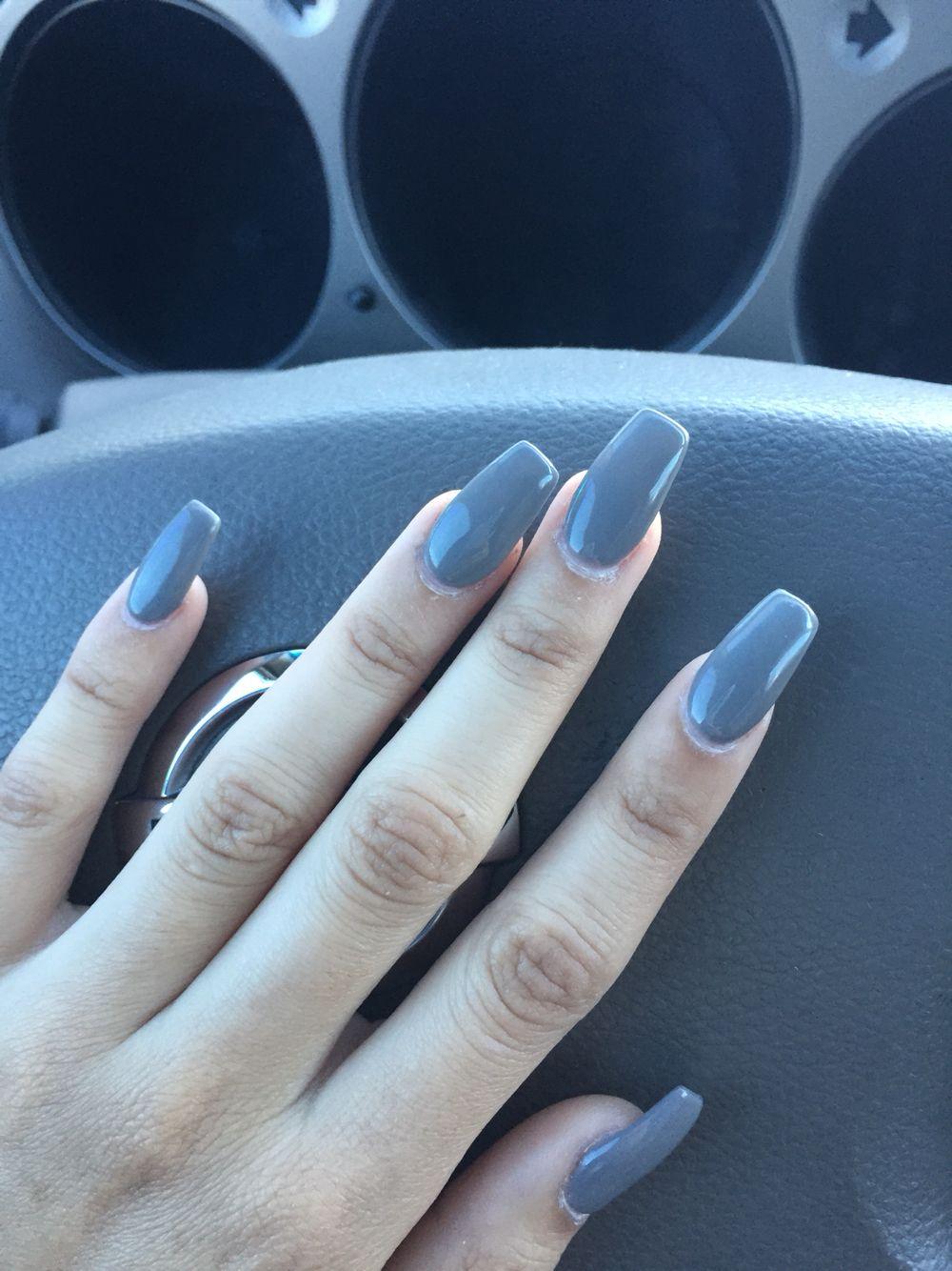 Coffin grey acrylics | Acrylic nails stiletto, Acrylic nail ...