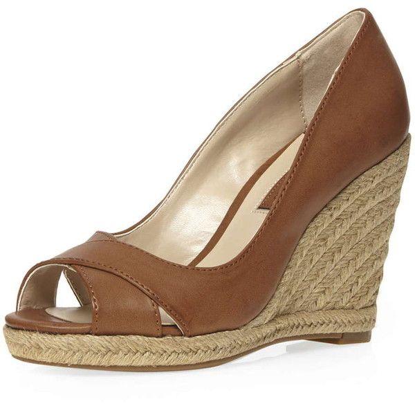 Tan wedge shoes, Peep toe wedges, High