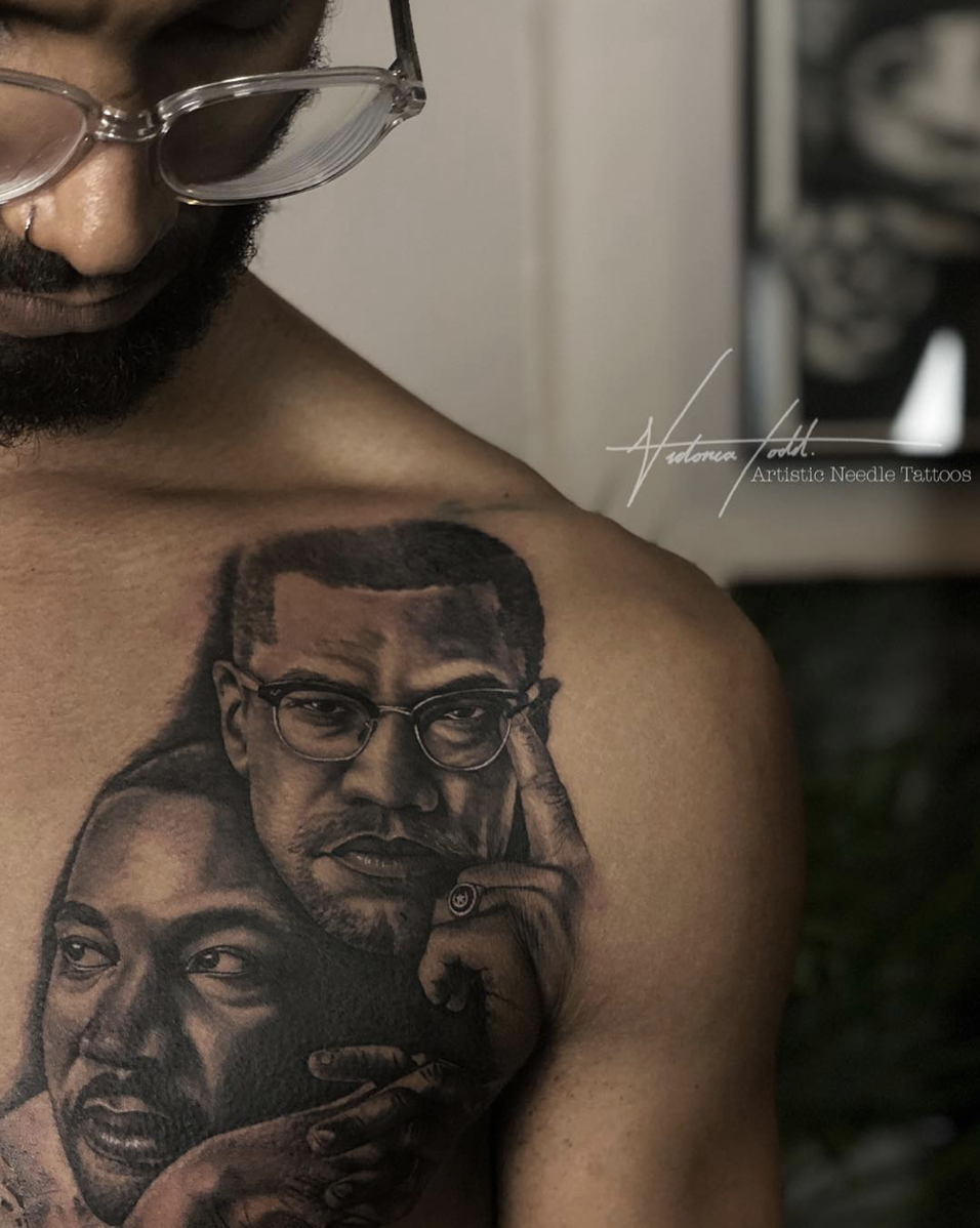 Black Grey Realism Malcolm X Martin Luther King Done By Victoria Todd Dark Skin Tattoo Chest Piece Tattoos Tattoos