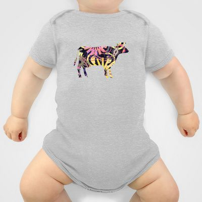 COW - P3A-4 Onesie by Pia Schneider [atelier COLOUR-VISION] - $20.00 #animals #cow #graphicdesign #vectorart #collage #pattern #purple #violet #art #baby #clothing #onesies #babyclothes