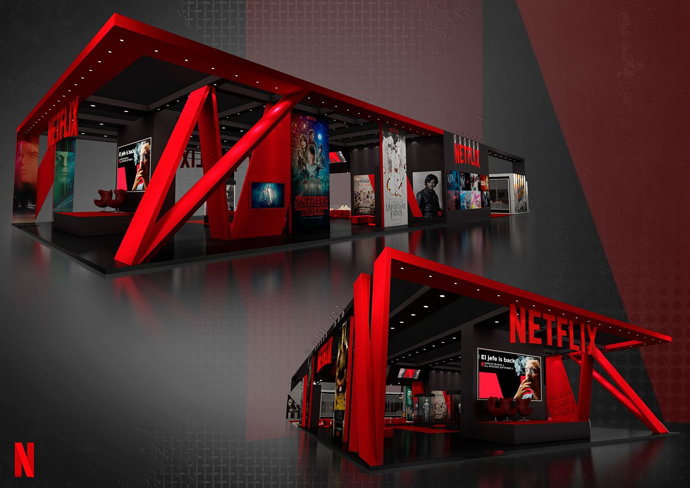 Netflix Ccxp 2016 On Behance Exibition Design Exhibition Stand Design Booth Design