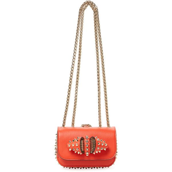 Christian Louboutin Sweet Charity Mini Leather Shoulder Bag - Orange (€835) ❤ liked on Polyvore featuring bags, handbags, shoulder bags, orange, white handbags, orange leather purse, white shoulder bag, mini shoulder bag and chain strap purse