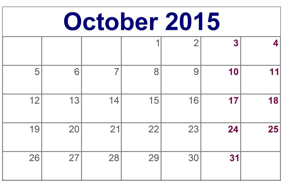 Free Download Blank October 2015 Calendar Printable Pictures Images
